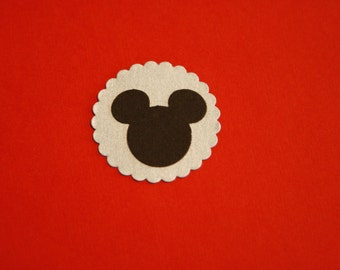 Mickey Mouse Die Cut with Silver Scallop Background, set of 12