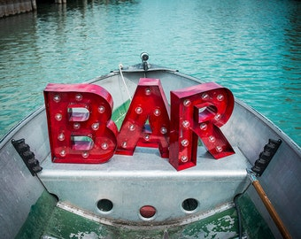 vintage marquee letters bar sign