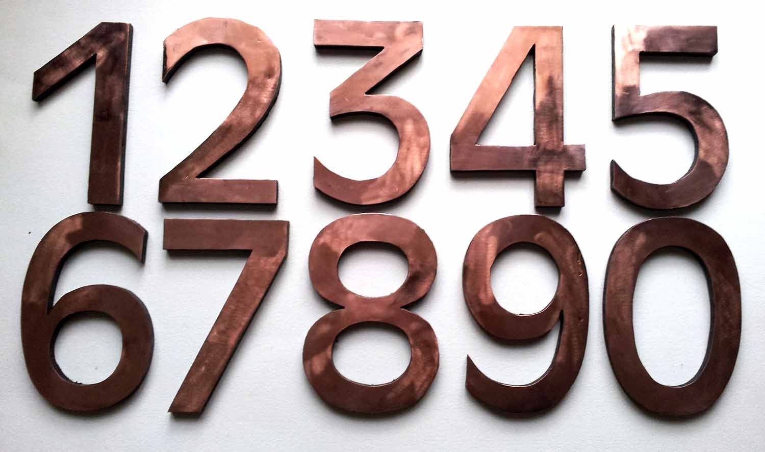 Large block house number in copper 1 x by davidmeddingsdesign for Classic house number fonts