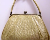 Vintage Purse vinyl cover over brocade gold fabric JR Florida purse /handbag /1950s purse