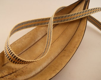 TRIM:  100% Cotton trim.  Blue, brown and tan.  Woven. 1/2 inch wide.  Sew on.  One yard.