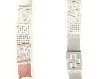 Asymmetrical Silver & Amethyst Embossed Earrings
