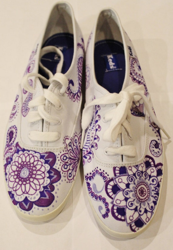 items similar to purple paisley tennis shoes custom made