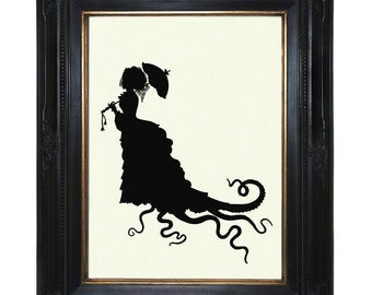 Silhouette Octopus Lady Art Print with Tentacles Parasol Victorian Steampunk Kraken Art Print Dress