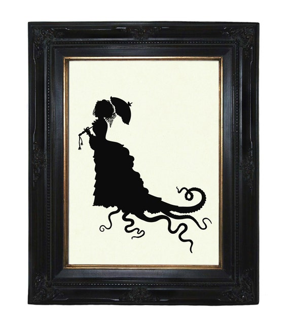 Silhouette Octopus Lady with Tentacles Parasol Victorian Steampunk art print