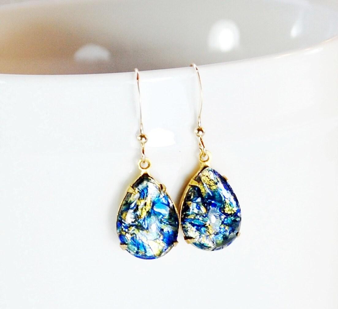 Blue Opal Earrings Fire Opal Earrings Harlequin by ...