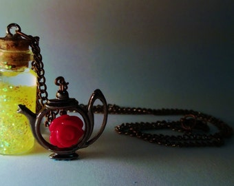 Belle Vial Necklace - Disney Beauty and the Beast Inspired - Handmade, Corked Glass Bottle - Red Rose Bronze Teapot Charm