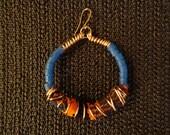 AfricanGoddess - Trade Bead & Kente Cloth Hoops, African Earrings, Ethnic Jewelry, Hoop Earrings