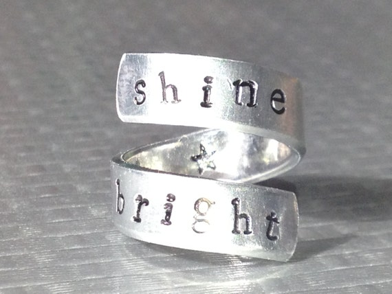 Shine Bright - Adjustable Twist Aluminum Ring - handed stamped ring