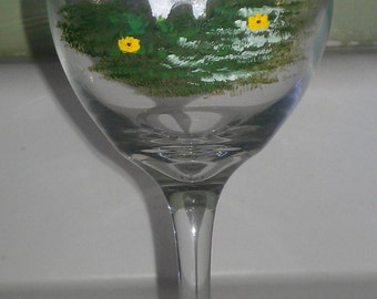 Cockatoo wine glass hand painted