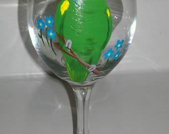 Amazon wine glass hand painted