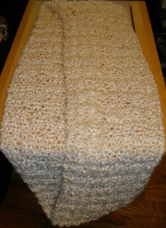 Knit Scarf Pattern Homespun Yarn : Cream Knit Infinity Scarf-Lion Brand Homespun