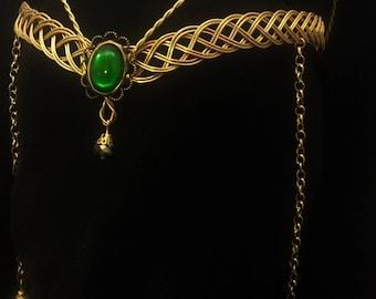Gold Celtic Circlet Handfasting elven medieval tiara pagan