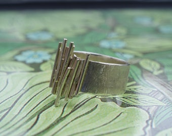 Handmade Contemporary Silver Ring with Random Sticks