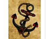 Anchors Away, Neo-Traditional Tattoo Flash, Nautical, Old School, Art Print 12x16