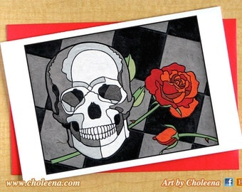 Skull and Rose Greeting Card- Large Card- Any Occasion Blank Card- Goth Card- Gothic Card- Death Card- Romantic Love Card- Valentines Card