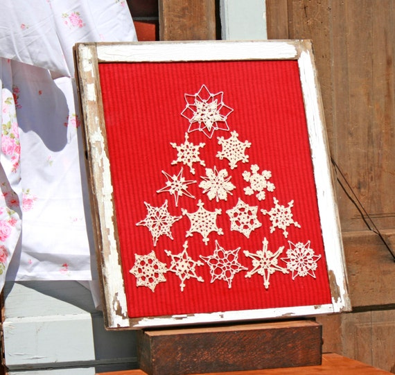 Upcycled repurposed recycled vintage window frame doily for Recycled window frames