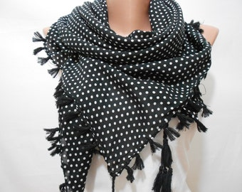 Black Polka Dots Scarf Shawl Black Cowl Scarf Black Tassel Scarf White Polka Dots  Mother Days from Son Daughter Husband Gift for Mom