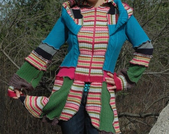Upcycled sweatercoat...Two weeks celebration in NEPAL--- Festival on the top of the World by Sofie's Softies.