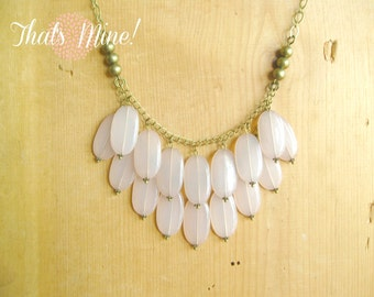 Blush pink bib necklace with antique brass chain - vintage inspired.