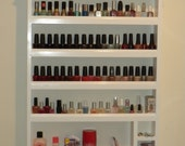 Highly functional, low-profile, wall hanging nail polish AND accessories organizor.
