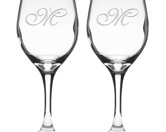 Personalized Etched 20oz USA Wine Glasses - SET 2