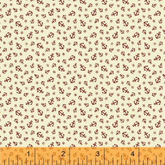 Mini Anchor Fabric - Ascot Little Red Anchors 1800's by Whistler Studios for Windham Fabrics 33321 2 - 1/2 yard