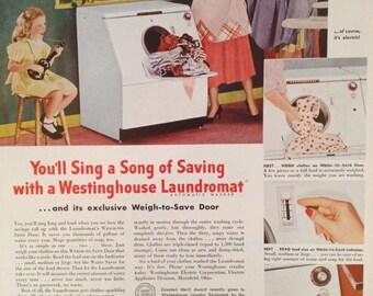 Vintage Westinghouse Washing Machine Ad, Paper Ephemera taken from a 1951 Ladies Home Journal.