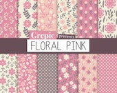 "SALE 50% Digital paper floral pink: ""FLORAL PINK"" digital paper pack with floral pink flower patterns in pink, purple and grey"