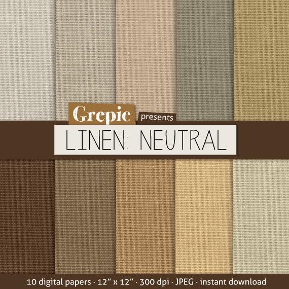SALE 50% Linen Digital Paper: LINEN NEUTRAL With