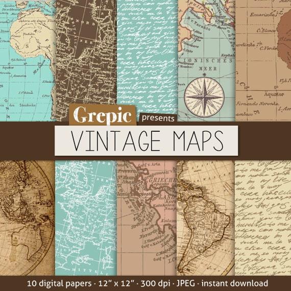 Vintage European Map Vintage Maps Digital Paper