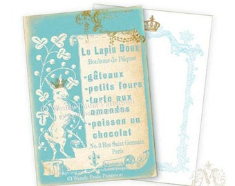 Rabbit, note cards, Invitations, Easter cards, French patisserie, menu, silhouette, aqua blue, gold crown, blank cards