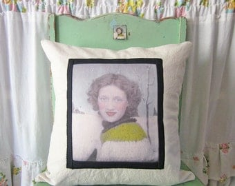 Upcycled Vintage Photobooth Photo Pillow Cover 16 x 16
