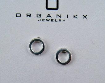 Sterling Silver Studs Earrings, 5mm Small Silver Studs Open Circle Studs, Silver Mini Studs, Silver Earings, Circle Studs, Minimal Earrings