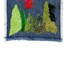 Thread Painted Iron on patch, Little Landscape 6