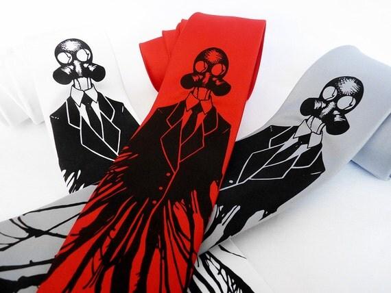 Gas Mask Necktie, Gasmask Tie - Post Apocalyptic Neck Tie, Geek Gift - Dressed for Apocalypse Men's Tie