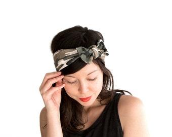 SALE // Skinny Bow Tie Headband // Knot Headband // Tie Up Headscarf // Camouflage Print