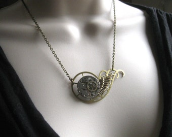 Steampunk necklace, vintage watch movement - botanical bird original design