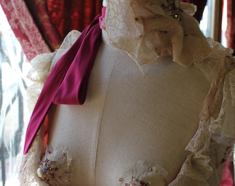 The Tea Rose - Bustled Halter Dress  with Headdress and Pasties all  created from Antique Lace Wedding Dress  Size US 4 -6