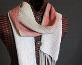 Handwoven Alpaca Scarf  in Salmon and soft green  OOAK Woven