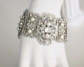Wedding Bracelet Wide Cuff Bracelet Filigree Bridal Bracelet Pearl and Crystal Swarovski Vintage Wedding Jewelry LEILA CUFF