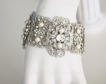 Wedding Bracelet Cuff Statement Bridal Bracelet Pearl and Crystal Swarovski Wide Bracelet Vintage Wedding Jewelry LEILA CUFF