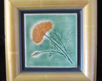 California Poppy: wall decor green golden yellow hm pottery framed tile craftsman inspired