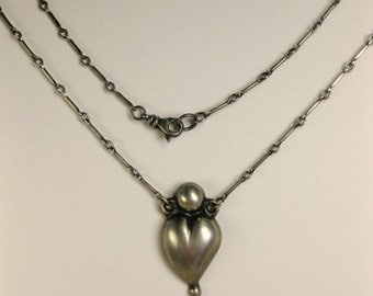 Vintage Mexican Puffy Silver Heart Necklace