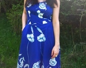 RESERVED - 70's Blue Floral Sleeveless Maxi Dress with Full Skirt and Pocket