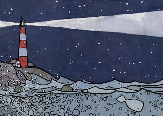 Lighthouse and Whale Illustration Print 5x7 ink and watercolor