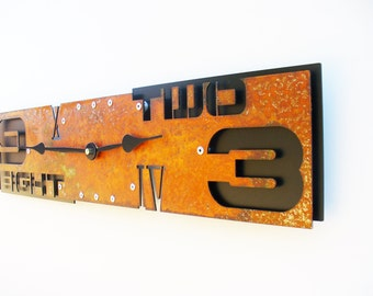 Outnumbered III, Large Wall Clock, Rustic Wall Clock, Unique Wall Clock, Modern Home Decor, Steampunk Metal Art, Industrial, Laser Cut, Big