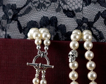 double strand pearl necklace with skull: Swarovski pearls, matinee length ivory, black, pink or white pearls, goth bride, rockabilly wedding