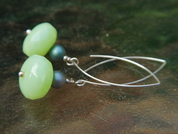 Mint Drop Earrings -- One-of-a-Kind, w Faceted Green Czech Glass, Vintage Pearl Beads & Handmade Sterling Wires // Proceeds Aid Red Cross