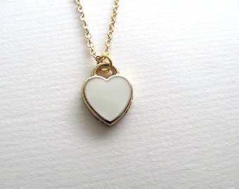 Little white heart necklace on 14k gold plated chain, ivory enamel charm